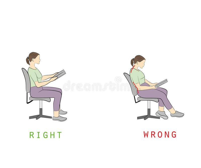 Posture while reading a book sitting on a chair. vector illustration. royalty free illustration