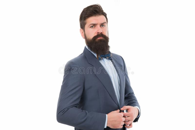 Posture sûre L'équipement à la mode d'homme d'affaires ou d'hôte a isolé blanc Hippie barbu d'homme utiliser l'équipement classiq photos libres de droits