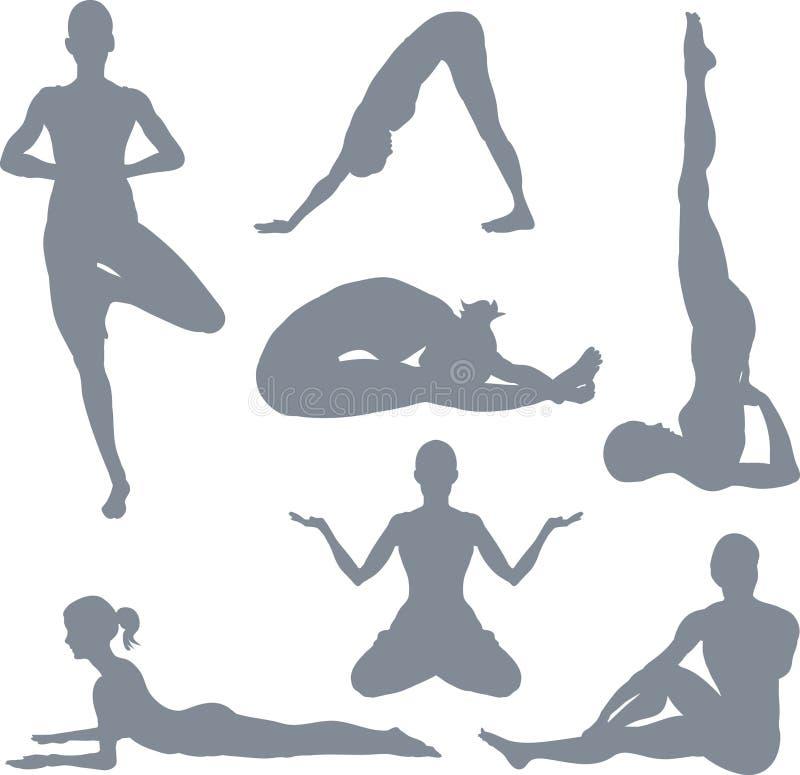 postures yoga vektor illustrationer
