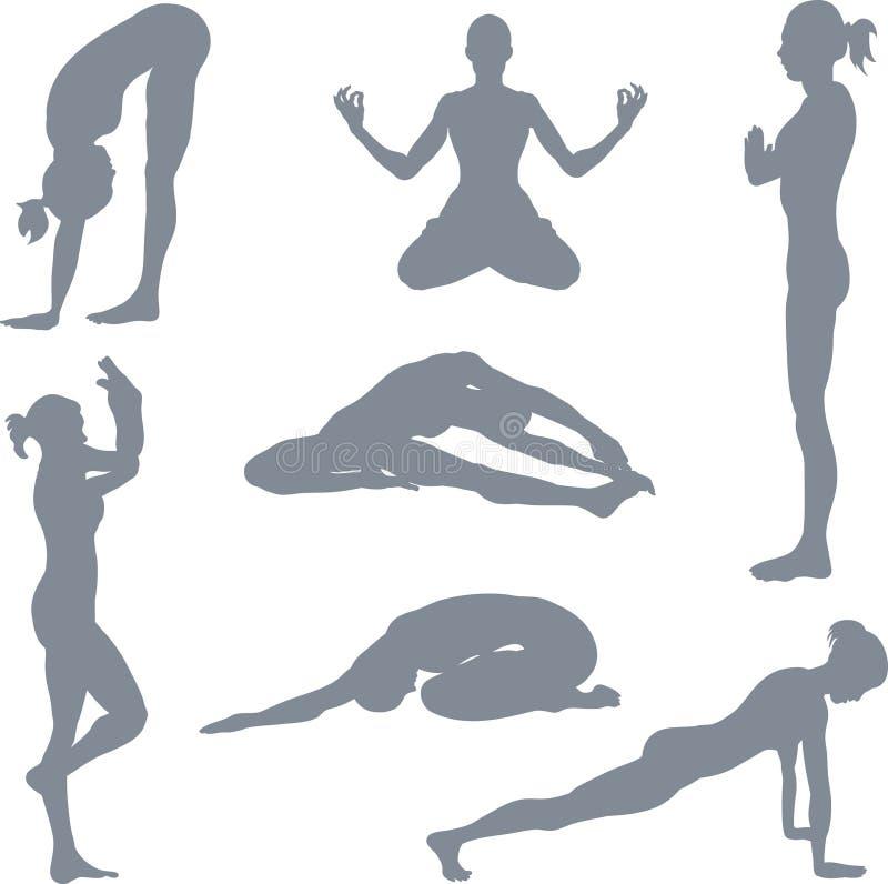 postures yoga stock illustrationer