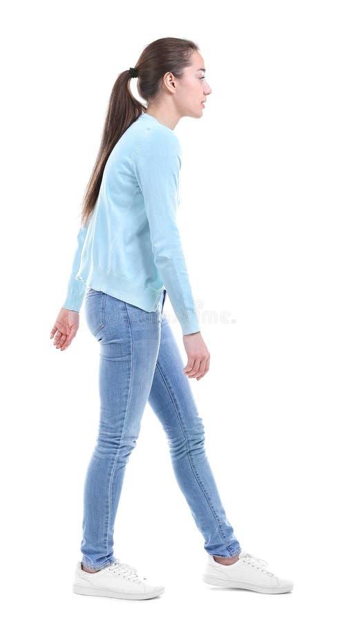 Postury pojęcie Młoda kobieta na tle zdjęcia stock