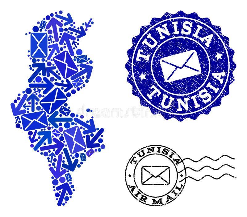 Postvägsammansättning av den mosaiska översikten av Tunisien och Grungeskyddsremsor vektor illustrationer