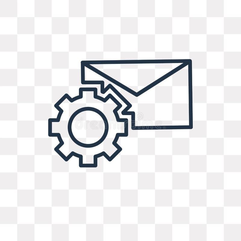 Postvektorsymbol som isoleras på genomskinlig bakgrund, linjär post stock illustrationer