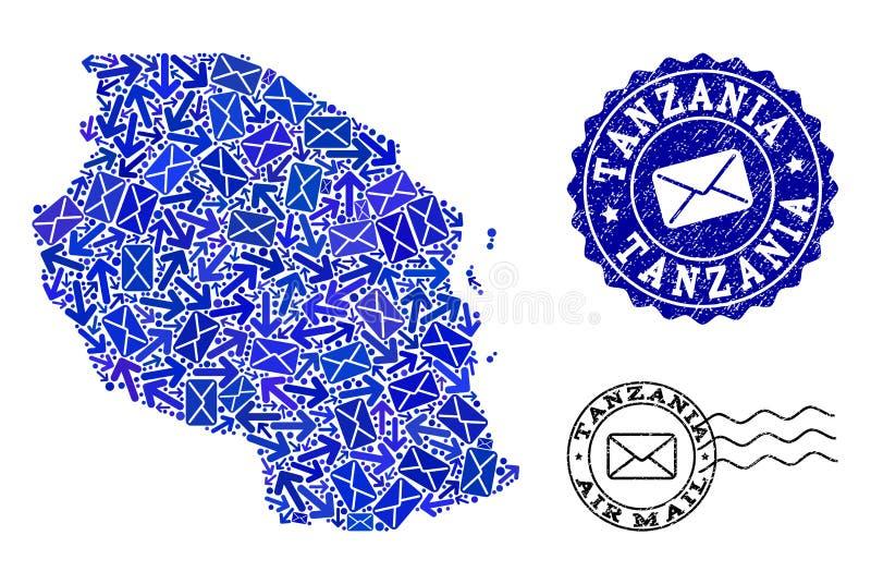 Postverkeercollage van Mozaïekkaart van de Zegels van Tanzania en Grunge- vector illustratie