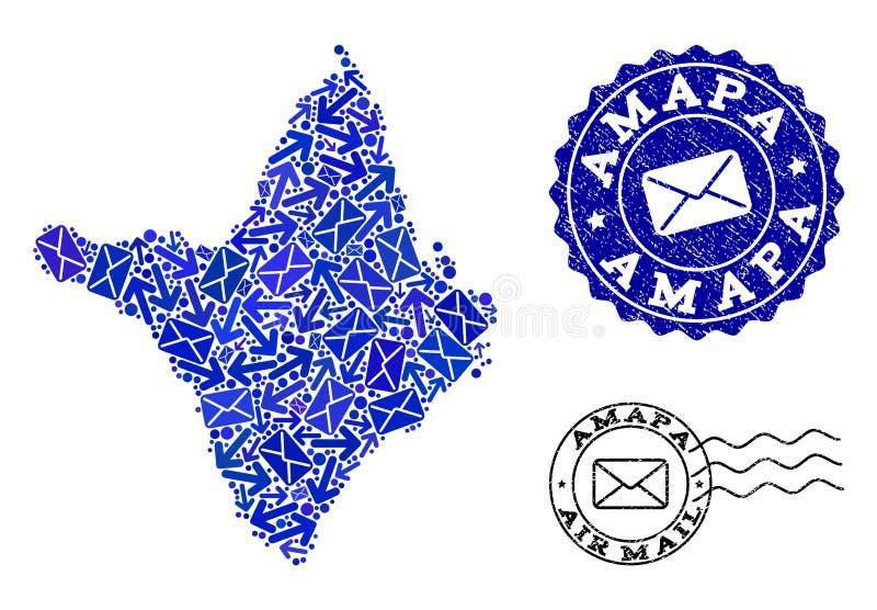 Postwegencollage van Mozaïekkaart van Amapa-Staat en Gekraste Verbindingen stock illustratie