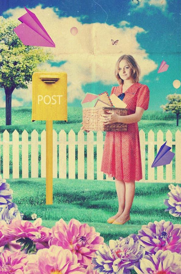 Postwoman joven hermoso, retro imagen de archivo