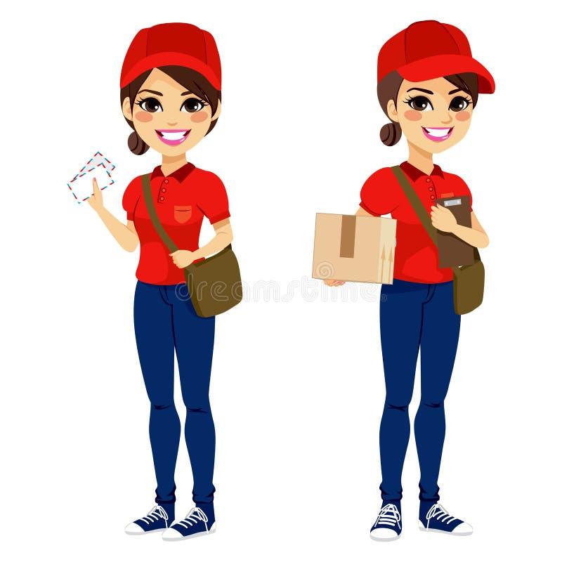 Postwoman que entrega el paquete del correo libre illustration