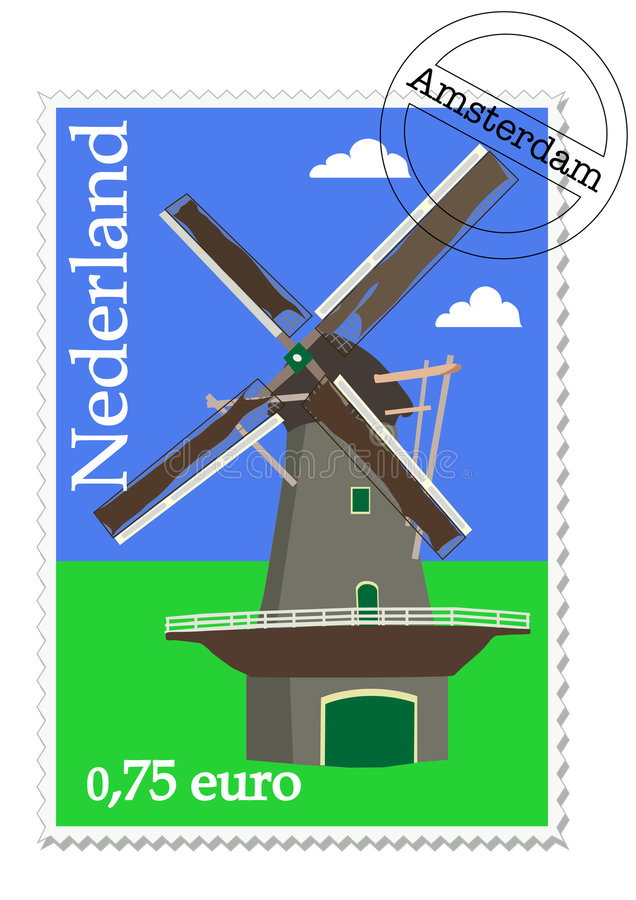 Postzegel. Dutch stamp with windmill from Holland vector illustration