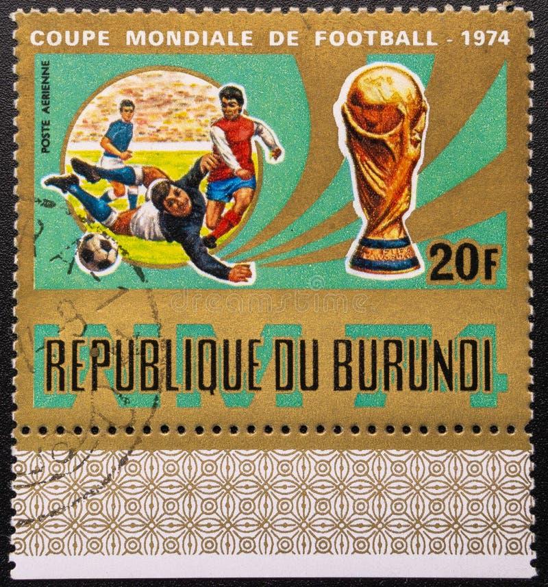 Postzegel 1974 De kop van de wereld Voetbal De Republiek Burundi royalty-vrije stock afbeeldingen