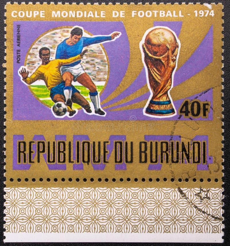 Postzegel 1974 De kop van de wereld Voetbal De Republiek Burundi stock afbeelding