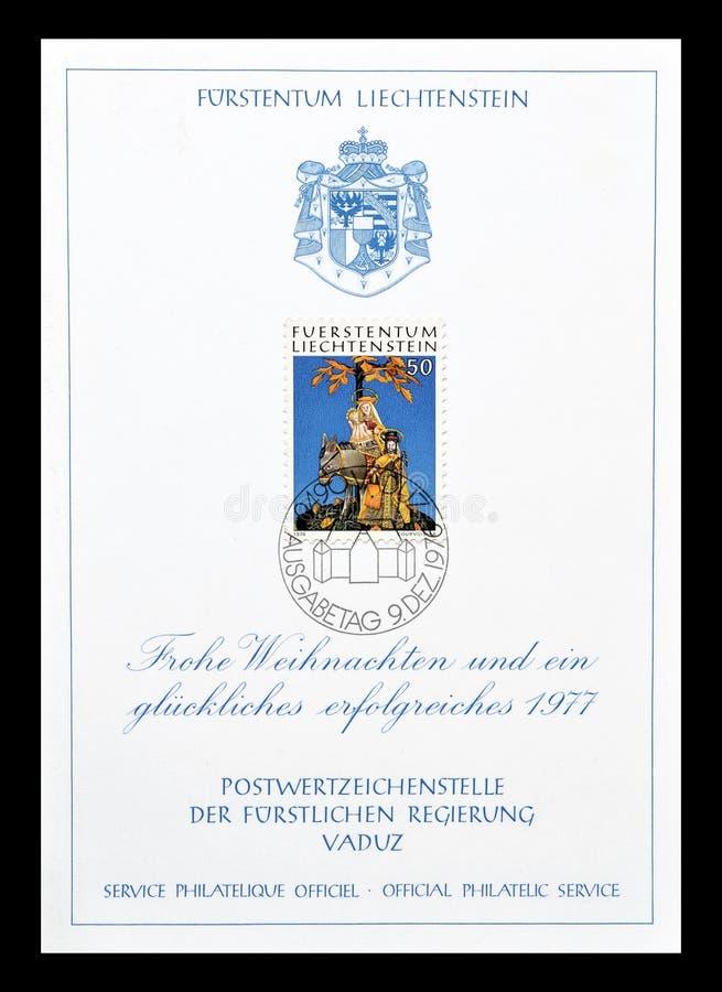 Postzegel die door Liechtenstein wordt gedrukt stock fotografie