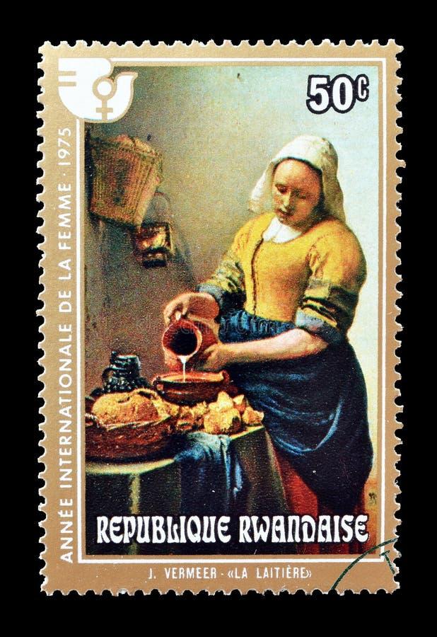 Postzegel door Rwanda wordt gedrukt dat stock foto's