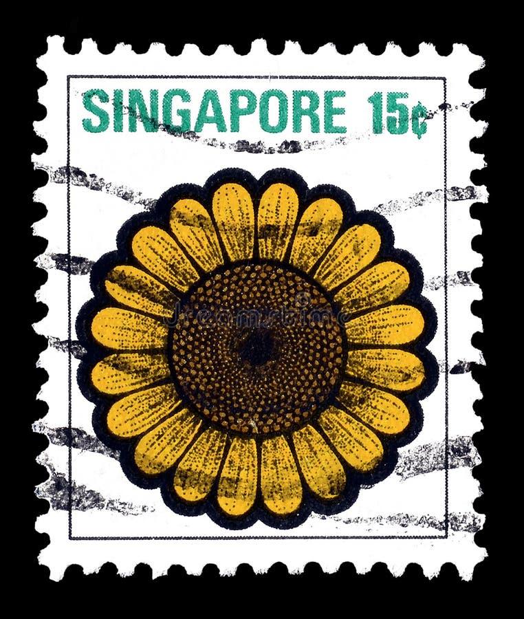 Postzegel door Singapore wordt gedrukt dat stock foto's