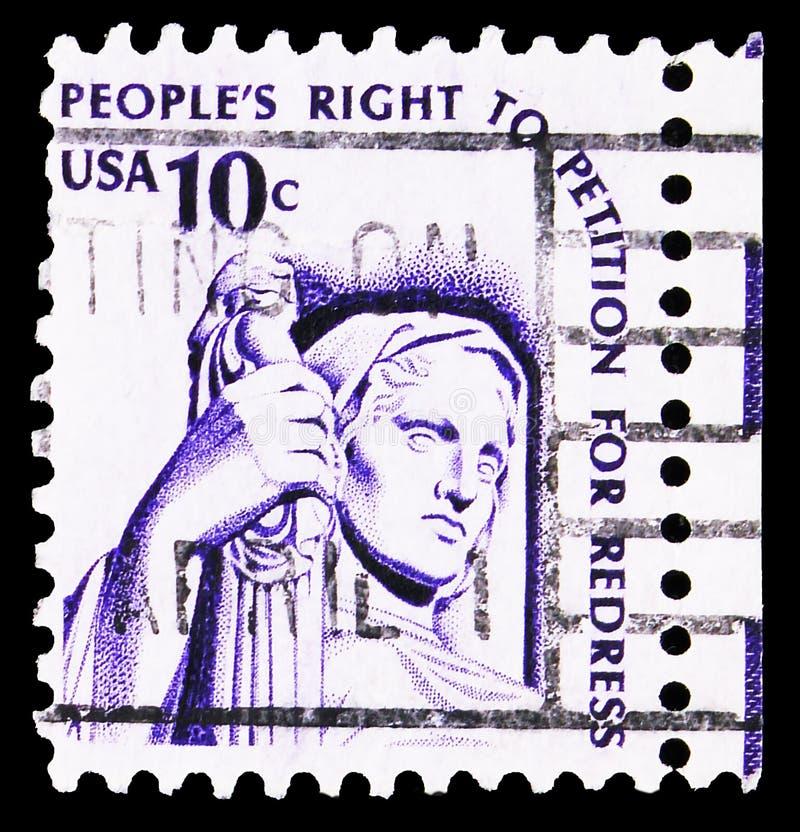 Postzegel gedrukt in de Verenigde Staten toont de 'denkwijze van gerechtigheid' door J E Fraser, Americana Issue serie, circa 197 stock afbeelding