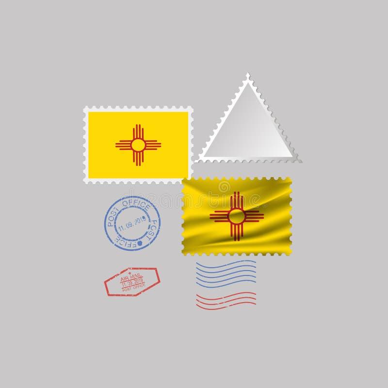 Postzegel met het beeld van de vlag van de staat van New Mexico Vector illustratie stock illustratie
