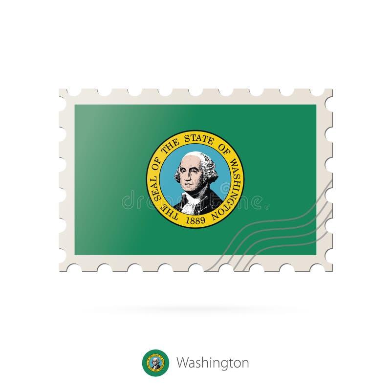 Postzegel met het beeld van de vlag van de staat van Washington stock illustratie