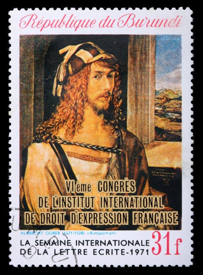 Postzegel met het zelf-portret van Albrecht Durer royalty-vrije stock foto's