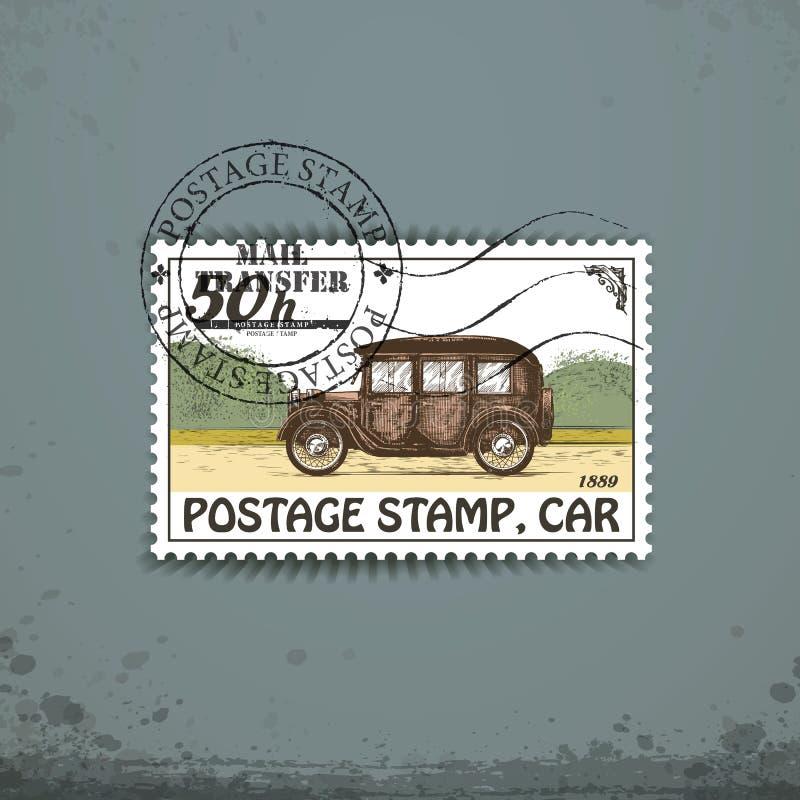 Postzegel met retro auto royalty-vrije illustratie
