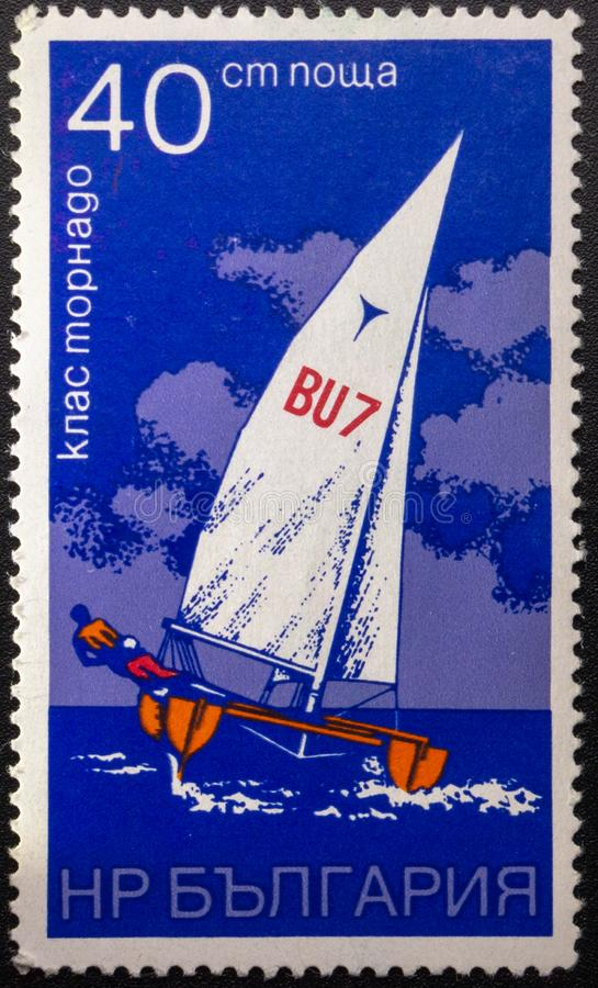 Postzegel 1973 sailing bulgarije stock foto