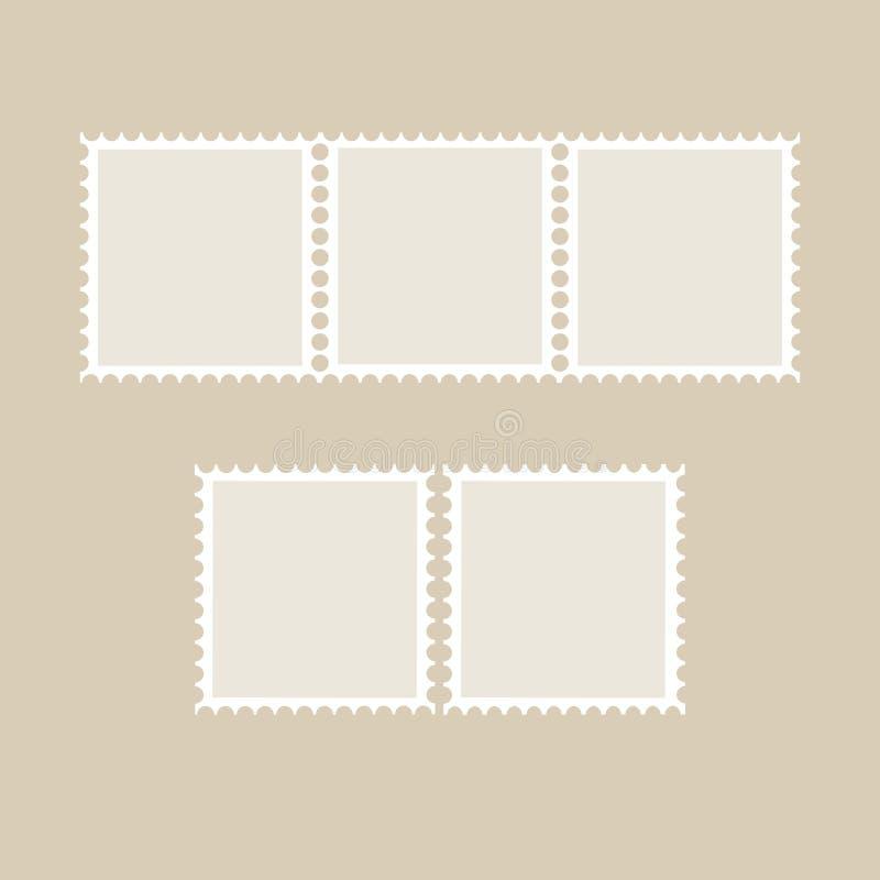 Postzegel tamplate Reeks lege zegels vector illustratie