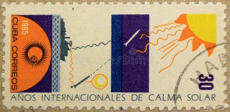 Postzegel van Cuba, gewijd aan het Jaar van de Stille Zon stock afbeelding