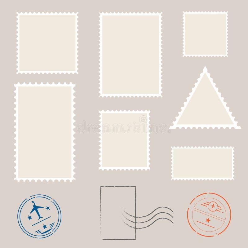 Postzegelmalplaatje Reeks lege zegels royalty-vrije illustratie