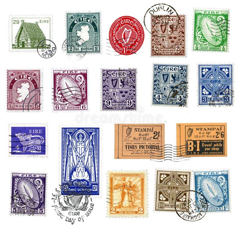 Postzegels en etiketten van Ierland stock foto