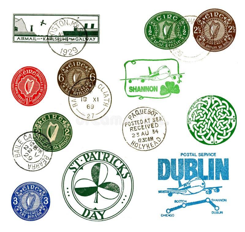 Postzegels en etiketten van Ierland stock afbeeldingen