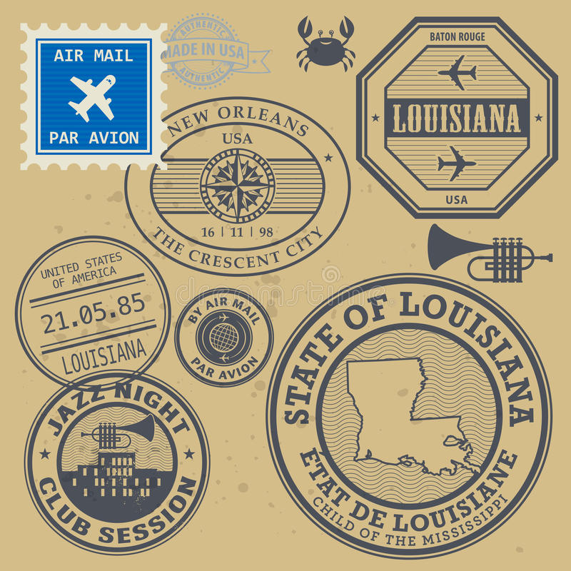 Postzegels geplaatst Louisiane, New Orleans vector illustratie