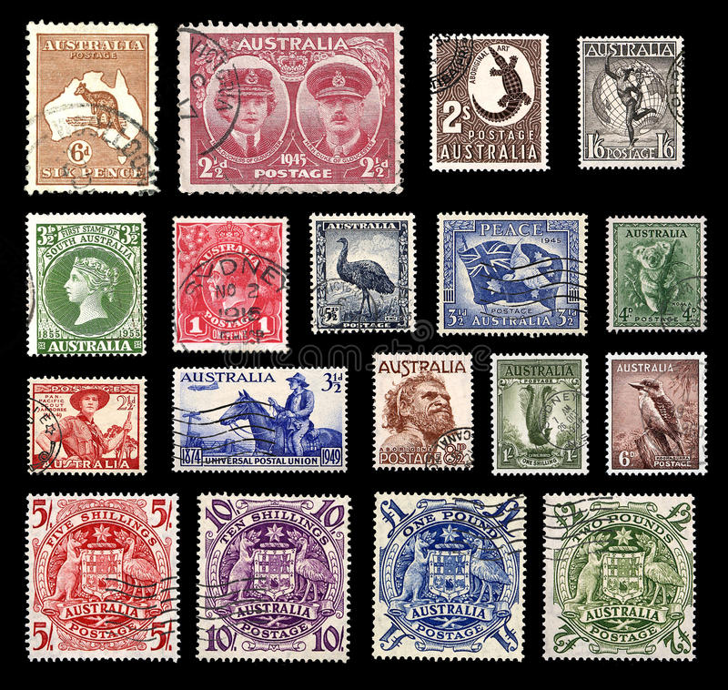 Postzegels van Australië stock foto