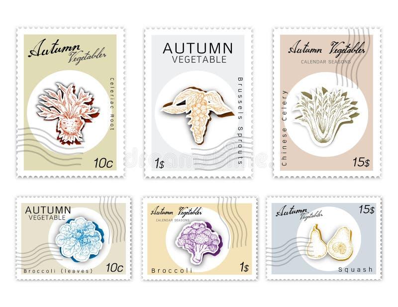 Postzegelsreeks van Autumn Vegetables met Document Besnoeiingsart. royalty-vrije illustratie