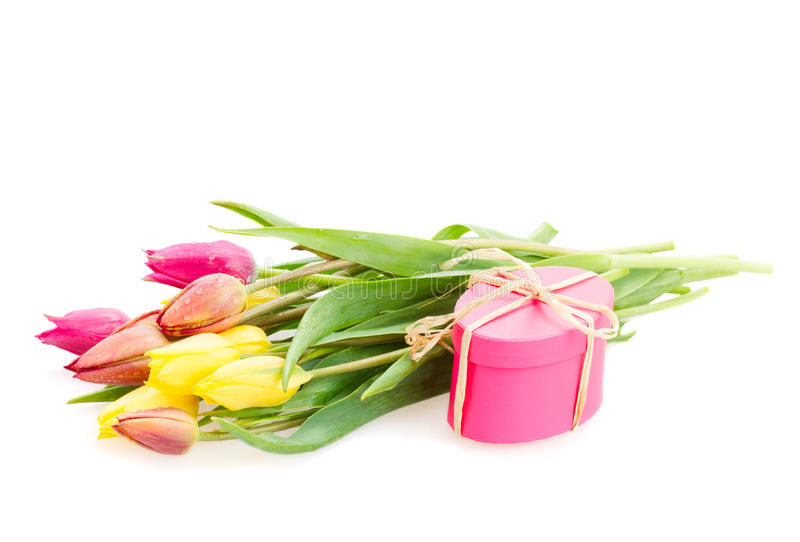 Download Posy Of Tulips Flowers With Gift Box Stock Image - Image: 35689887
