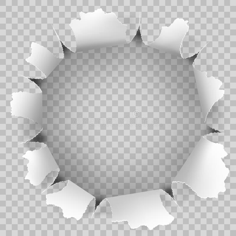 Poszarpana dziura i rozdzierający papier na przejrzystym tle EPS 10 wektor royalty ilustracja