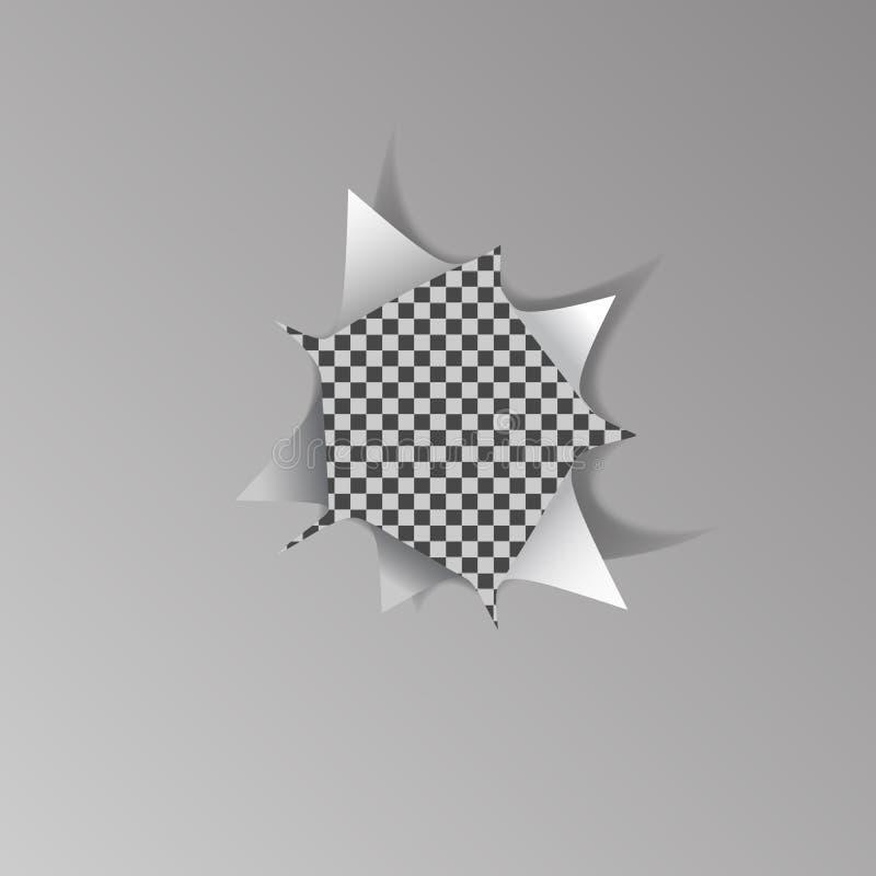 Poszarpana dziura w białym prześcieradle papier na przejrzystym tle ilustracja wektor