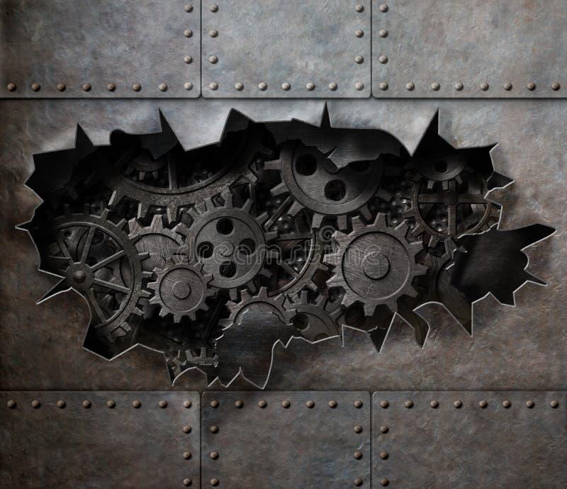Poszarpana dziura w starym metalu z ośniedziałymi przekładniami i cogs fotografia royalty free