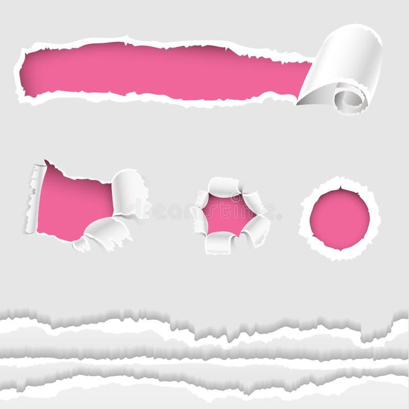Poszarpane krawędzie dziura lacerated papierowa krawędź, obszarpujący pęknięcie i royalty ilustracja