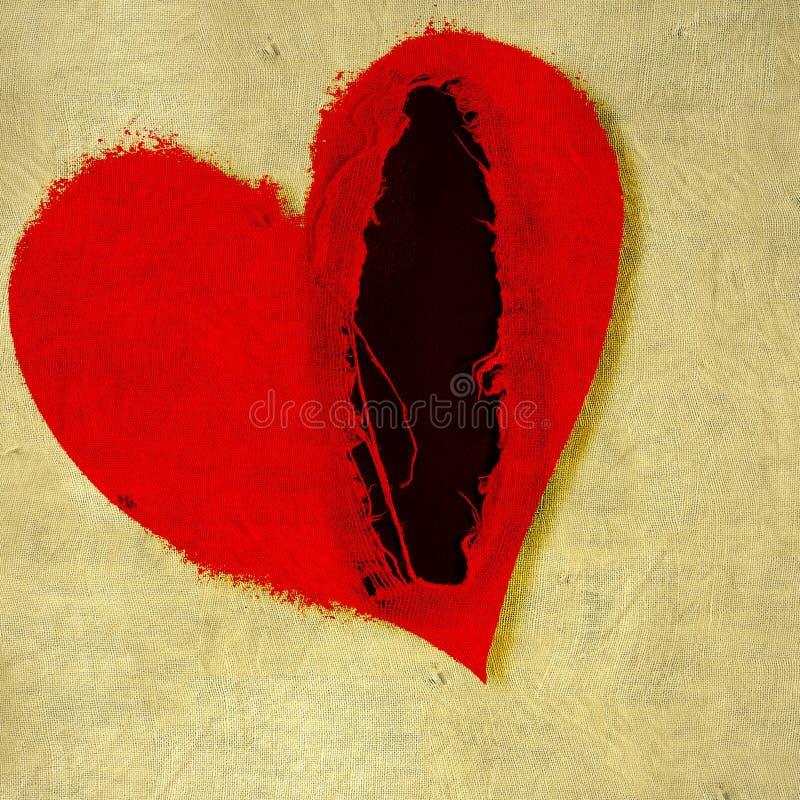 Poszarpany czerwony serce na tkaniny tle czerwona róża ilustracji