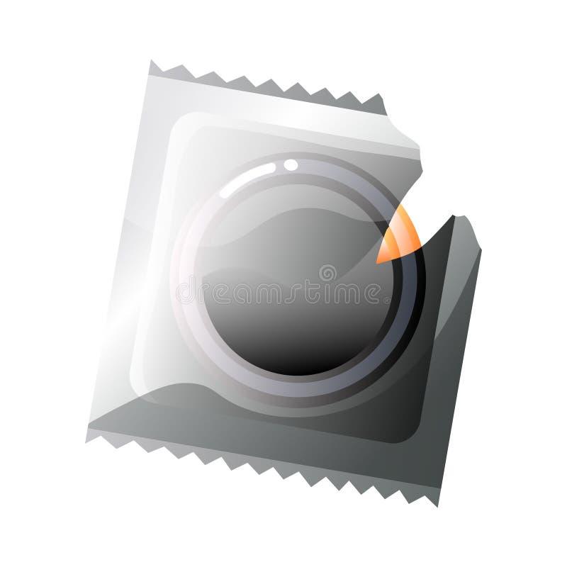 Poszarpany kocowanie z lateksowym kondomem odizolowywającym na białym tle royalty ilustracja
