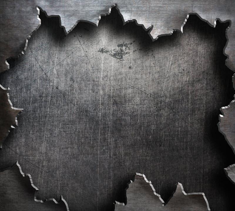 Poszarpany metal z dużą rozdzierającą dziurą zdjęcie stock