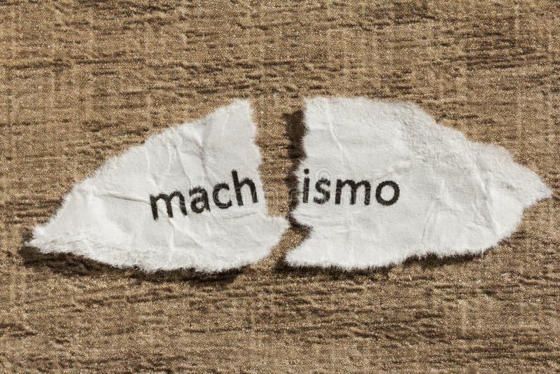 Poszarpany papier pisać machismo, portuguese i hiszpańskiego słowie, dla cha obraz royalty free