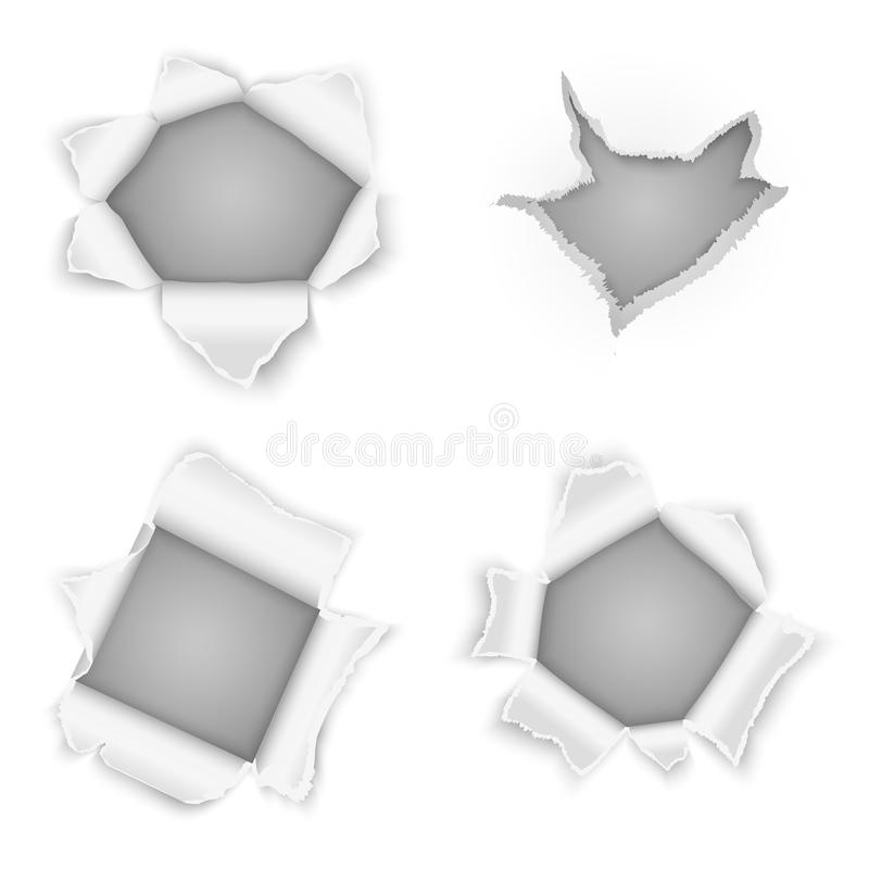 Poszarpany papier robić dziurę wektorową kolekcję ilustracji
