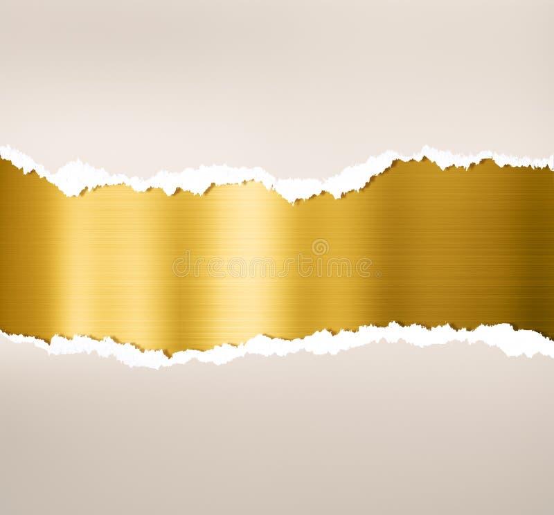 Poszarpany papier z złocistym metalu talerza tłem ilustracji