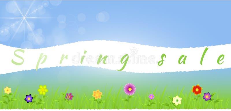Poszarpany papierowy środkowy wiosna krajobraz z kwiatami royalty ilustracja