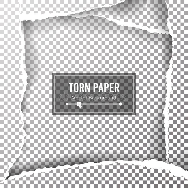 Poszarpany Papierowy Pusty wektor Rozdzierać krawędzie Z przestrzenią Dla teksta Poszarpany strona sztandar dla sieci i druku Spr ilustracja wektor