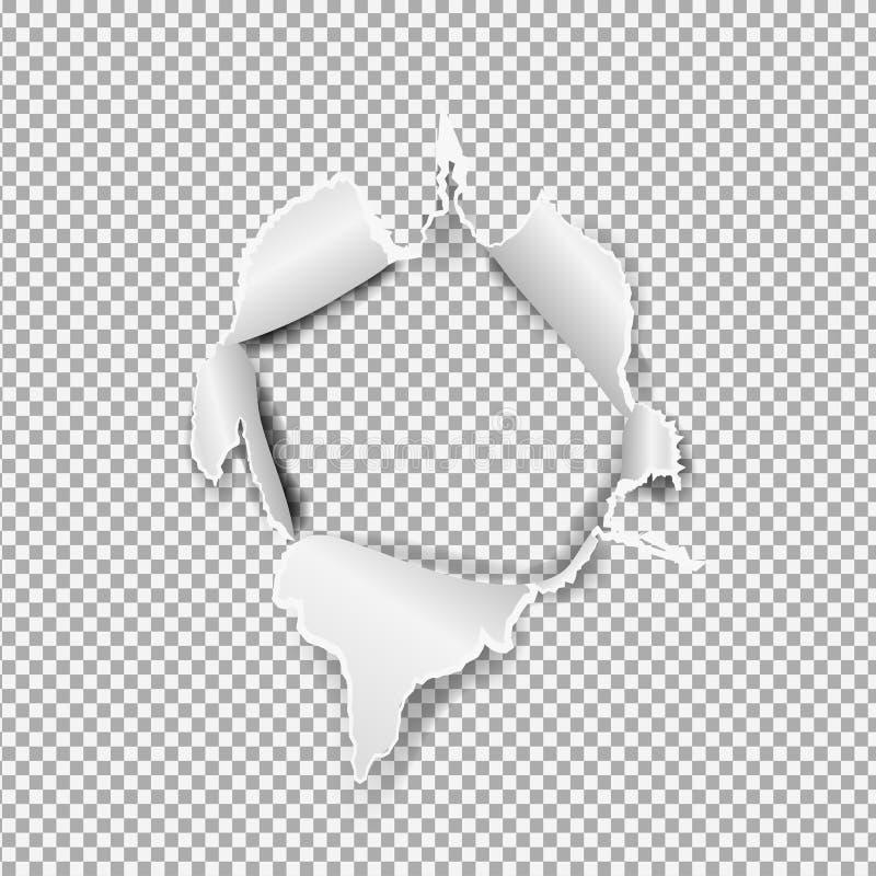 Poszarpany papierowy realistyczny, dziura w prześcieradle papier na przejrzystym tle ilustracji