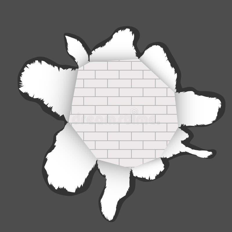 Poszarpany realistyczny papier rozdarty na kawałki papieru Dziura w poszarpanym papierze z ściana z cegieł teksturą ilustracji