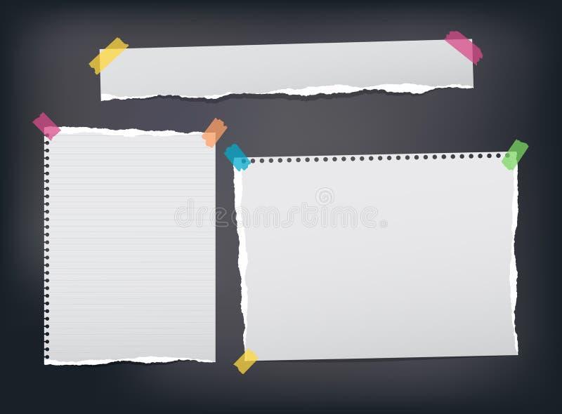 Poszarpany rządzić, notatka, notatnik, copybook papierowi paski, prześcieradła wtykał z kolorową kleistą taśmą na czarnym tle ilustracja wektor