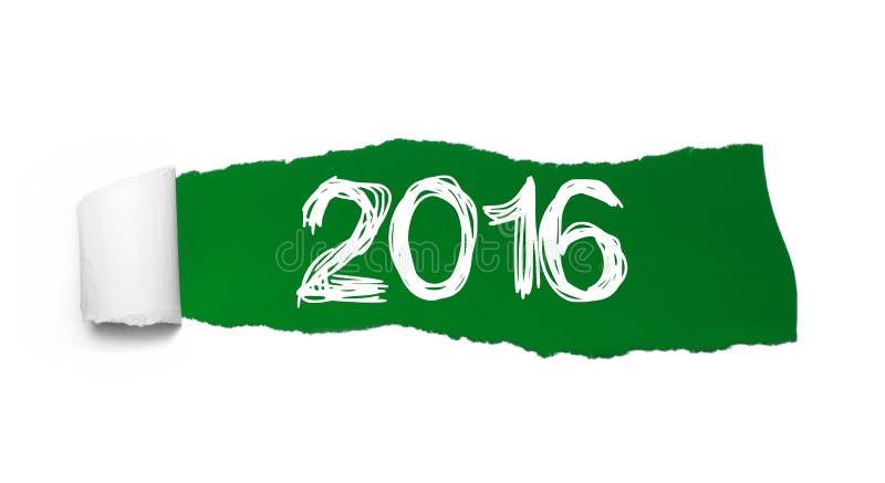 Poszarpany zielony papier z tekstem 2016 ilustracja wektor