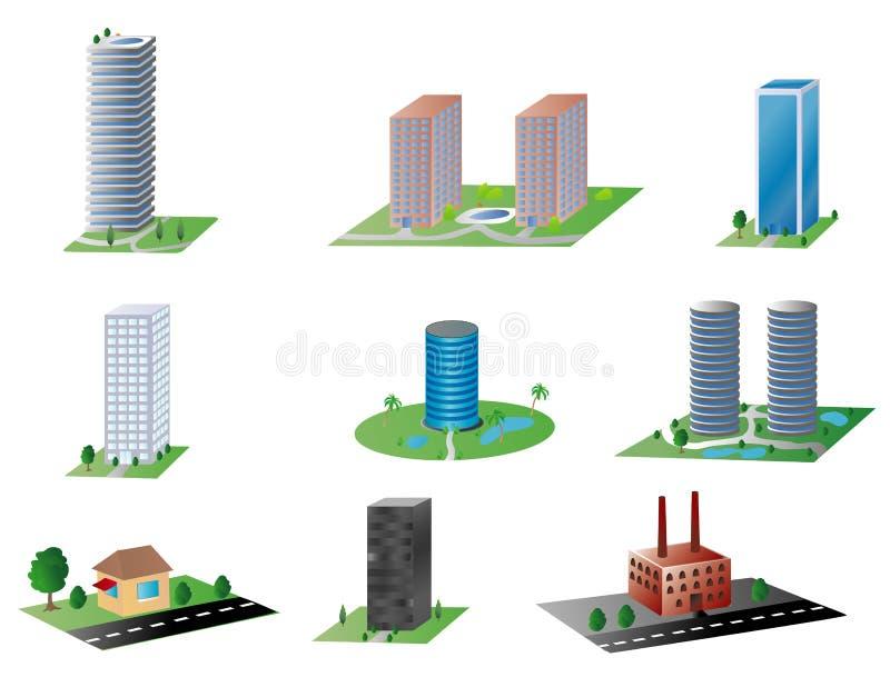 poszczególne budynki ilustracja wektor
