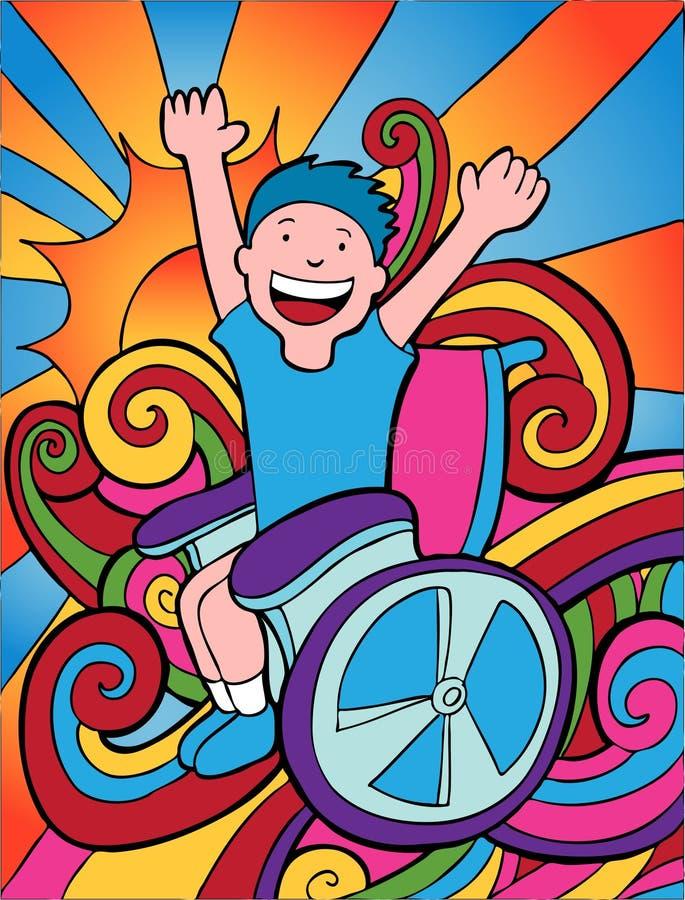 poszukiwacz przygód wózek inwalidzki ilustracja wektor
